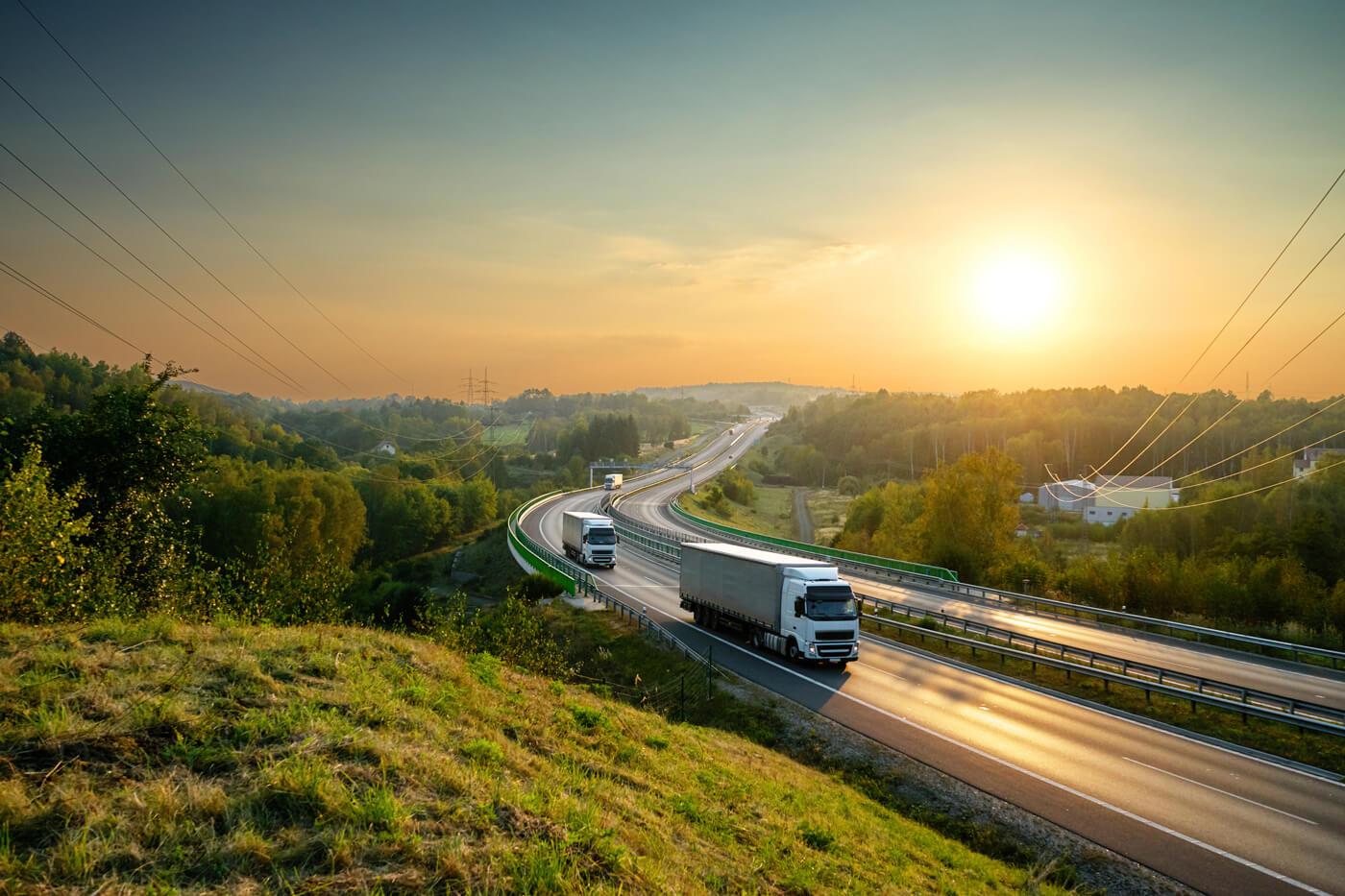Flota camiones en carretera